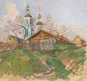 Russian church. And old wooden houses in Sergiev Posad. Oil on canvas Stock Photo