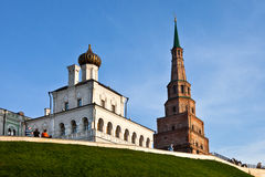 Russian church abd Suumbike Tower in Kazan Kremlin. Kazan. Russia Royalty Free Stock Photo