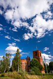 Russian church and birch Stock Photos