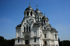 Russian church black dome. Cathedral Windows stained glass carvings moldings history old Royalty Free Stock Images