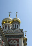 Russian church domes. Russian church exterior, dome reflrcting sunlight Royalty Free Stock Photography