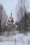 Russian Church in Forest in Winter. Stock Photography