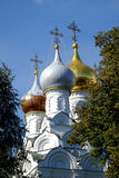 Russian church with golden cupolas Stock Photo