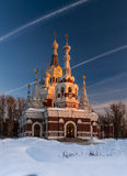 Russian Church In Sunset Royalty Free Stock Image