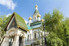 The Russian Church in Sofia,Bulgaria -close up. The Russian Church, known as the Church of St Nicholas the Miracle-Maker is a Russian Orthodox church in central stock photo