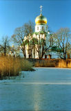 Russian church near iced pond Royalty Free Stock Photo