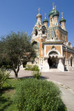 Russian Church in Nice. St. Nicholas' Russian Orthodox Cathedral in Nice, France Royalty Free Stock Photo