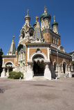 Russian Church in Nice. St. Nicholas' Russian Orthodox Cathedral in Nice, France Stock Image