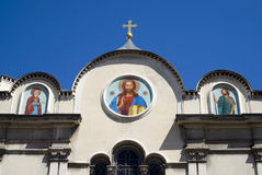 Russian Church in Nice. Facade of St. Nicholas and St. Alexandra Orthodox Church, Nice, France Stock Images