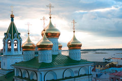 Russian Church. Nice Russian church with golden cupola. View across Volga river in Nizhni Novgorod, Russia Royalty Free Stock Images