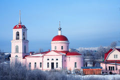 Russian Church. Nice old Russian Christianity church against blue sky at winter Stock Photography