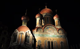 Russian church at night Royalty Free Stock Images