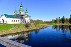 Russian church. Olonec. Russia. Karelia.  Smolensk church on the island of Mariam in nice summer day Stock Image