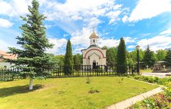Russian church is orthodox religion building in sunnu day in summer. The Optina deserts is famous christianity male monastery. Russian church is orthodox Royalty Free Stock Images