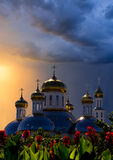 Russian church. Russian Orthodox church in the sun at sunset Royalty Free Stock Photography