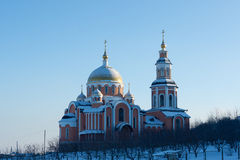 Russian Church in Saratov Orthodox monastery. Winter Stock Images