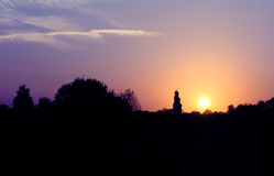 Russian church silhouette at sunset Royalty Free Stock Photos