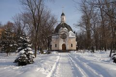 Russian church in snow Royalty Free Stock Image