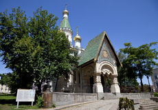Russian church in sofia, bulgaria. A view of the russian church Saint Nicholas the Wonderworker in sofia, bulgaria royalty free stock photo