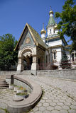 Russian church in sofia, bulgaria. A view of the russian church Saint Nicholas the Wonderworker in sofia, bulgaria Royalty Free Stock Photography