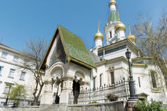The Russian Church in Sofia,Bulgaria -close up. The Russian Church, known as the Church of St Nicholas the Miracle-Maker is a Russian Orthodox church in central stock images