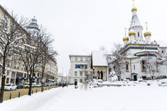 The Russian Church   in Sofia,Bulgaria in the winter Stock Photo