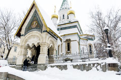The Russian Church   in Sofia,Bulgaria in the winter Royalty Free Stock Photos