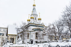 The Russian Church   in Sofia,Bulgaria in the winter Stock Photos
