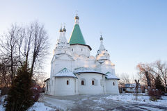 Russian church at sunset Royalty Free Stock Photo