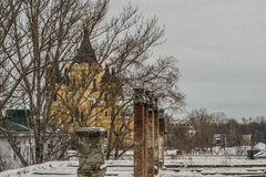 Russian church. Through the trees Stock Image