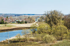 Russian church, village, Moskva River in Mozhaysk. Russian spring country landscape with church, village and Moskva River in Mozhaysk region Stock Image