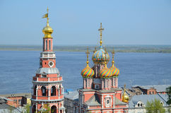 Russian church on Volga river Royalty Free Stock Photography
