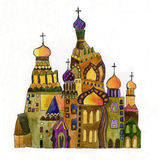 Russian church on white background. Russian church drawing on white background Royalty Free Stock Photography
