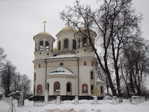 Russian church in winter. Small Russian church in winter. Zvenigorod, Region of Moscow stock photography