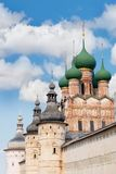 Russian church with wooden domes Stock Photos