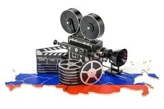 Russian cinematography, film industry concept. 3D rendering. Isolated on white background Royalty Free Stock Photography