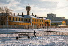 Russian city in the winter Stock Images