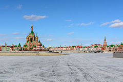 Russian city in winter. Photo of the city of Yoshkar-Ola, Russia, overlooking the waterfront Royalty Free Stock Image