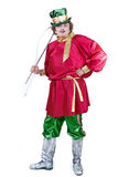 Russian coachman with whip isolated. Theatrical russian coachman in red shirt standing with whip  isolated Stock Images