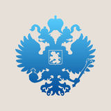 Russian coat of arms double-headed eagle emblem. Russian blue coat of arms double-headed eagle emblem. Symbol of empire Russia Stock Image