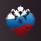 Russian coat of arms double-headed eagle emblem. Russian coat arms double-headed eagle emblem. Symbol of empire Russia flag Stock Photo