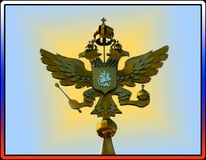 Russian coat of arms in the frame of tricolor. Royalty Free Stock Photo