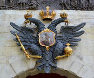 The Russian coat of arms on Petrovsky gate of the Peter and Paul Fortress. St. Petersburgr and Paul Stock Images