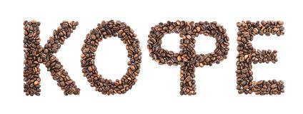 Russian coffee word made from coffee beans isolated on white background, cyrillic font, russian alphabet. Russian coffee made from roasted coffee beans isolated royalty free stock photography
