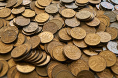 Russian coin. Background of russian metal coins Stock Photo