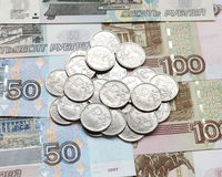Russian coin roubles. Stock Photo