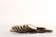 Russian coin stacks on a white. Background royalty free stock photo
