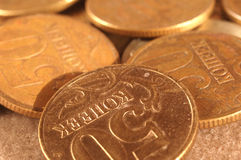 Russian coins. With golden lighting Royalty Free Stock Images