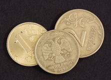 Russian coins. Three bronze russian coins showing both sides of a coin Royalty Free Stock Photo