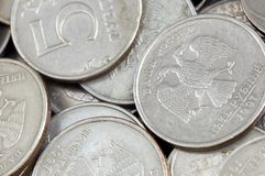 Russian coins in close up Royalty Free Stock Photography